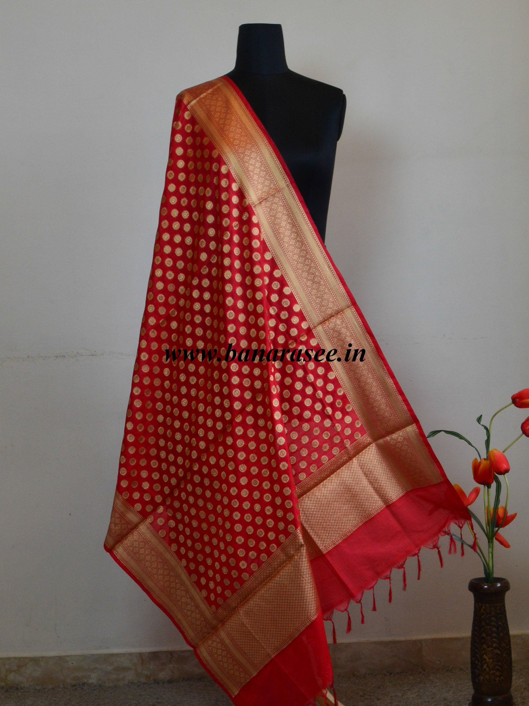 Art Silk Dupatta Small Buti Design-Red