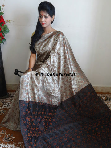 Banarasee Art Silk Saree With Floral Woven Design Contrast Black Pallu-Beige