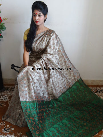 Banarasee Art Silk Saree With Floral Woven Design Contrast Green Pallu-Beige