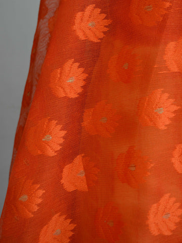 Banarasee Shibori Dyed Chanderi Salwar Kameez Fabric With Orange Net Dupatta-Orange & Yellow