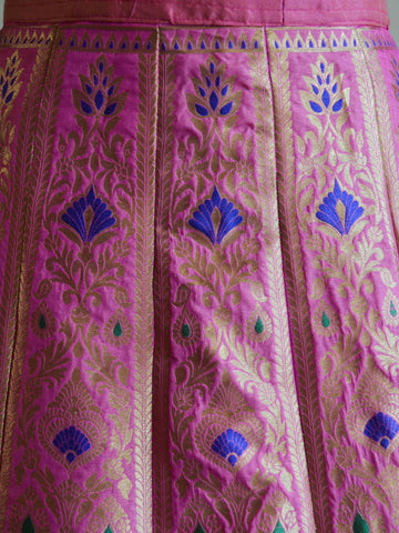 Banarasee Handwoven Art Silk Unstitched Lehenga & Blouse Fabric With Meena Design-Mauve