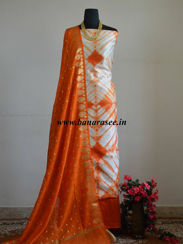 Banarasee Shibori Dyed Chanderi Salwar Kameez Fabric With Art Silk Dupatta-Orange