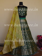Banarasee Handwoven Semi Silk Unstitched Lehenga & Blouse Fabric With Yellow Dupatta-Deep Green