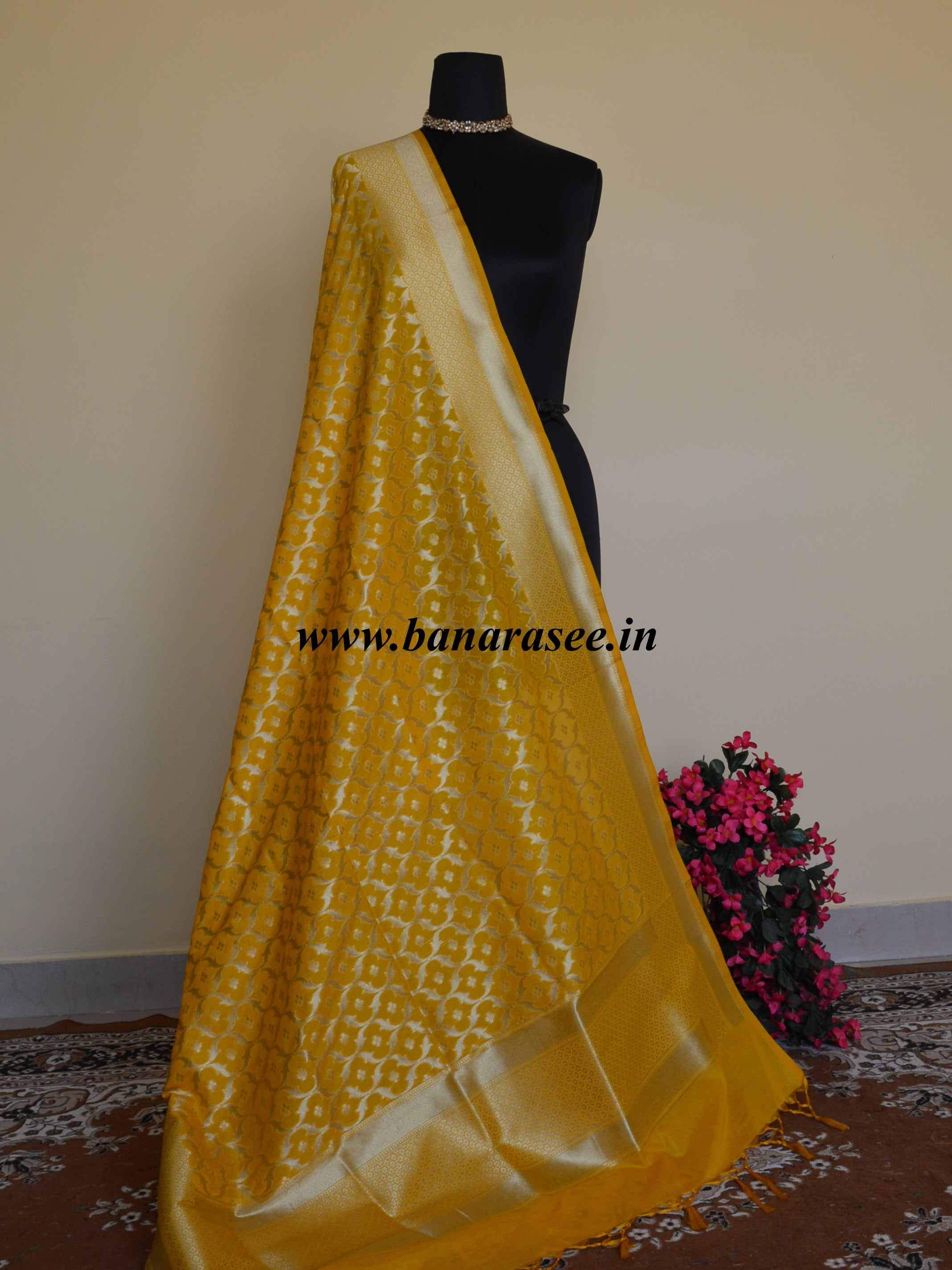 Banarasee Art Silk Dupatta Jaal Design Design-Yellow