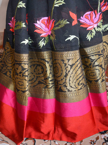 Banarasee Cotton Silk Saree With Multicolor Floral Embroidery & Contrast Satin Border-Black