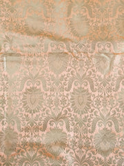 Banarasee Satin Brocade Antique Gold Zari Floral Jaal Fabric-Coral