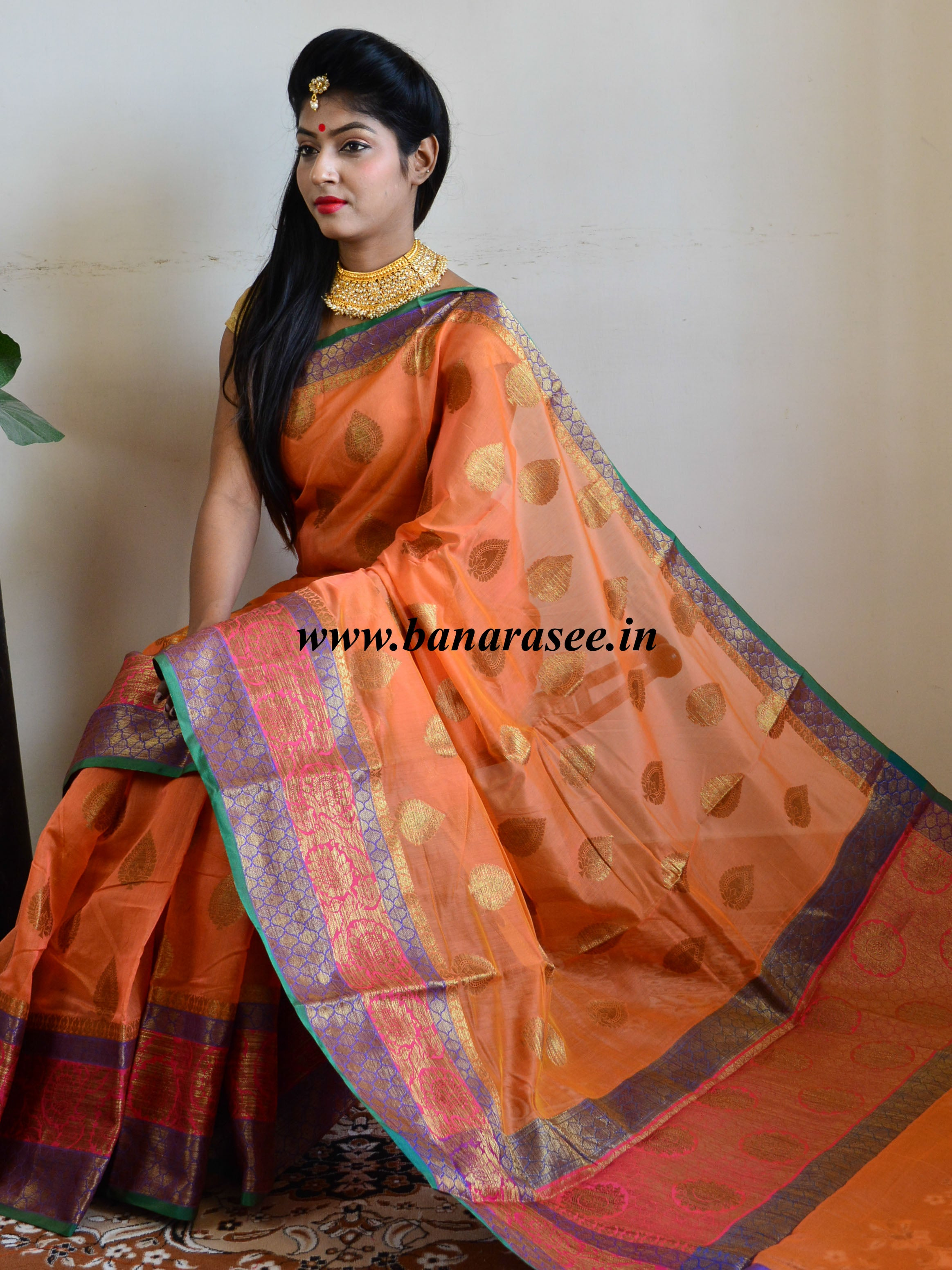 eb9e9548224ce5 Banarasee Handloom Cotton Silk Saree With Antique Zari Buta   Floral B