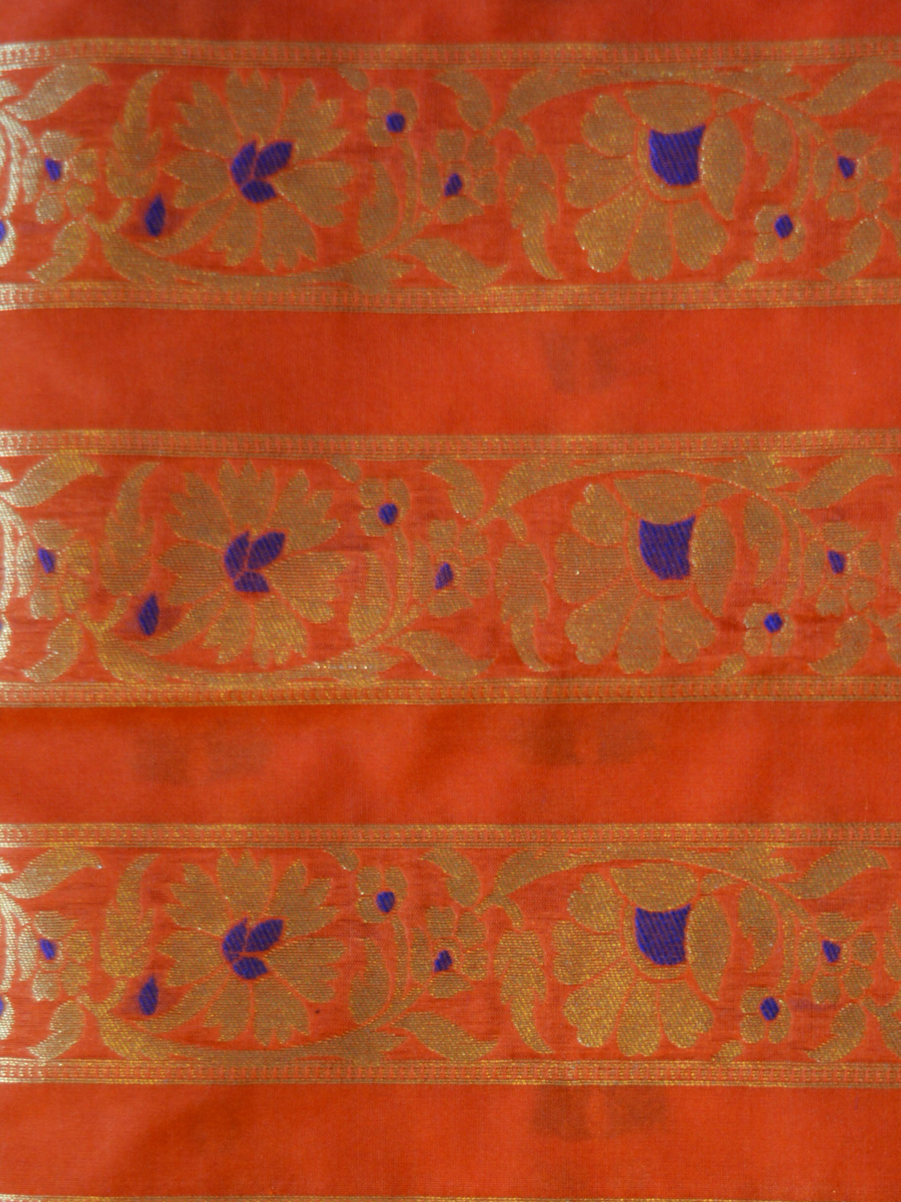 Banarasee Handwoven Art Silk Unstitched Lehenga & Blouse Fabric With Meena Design-Coral