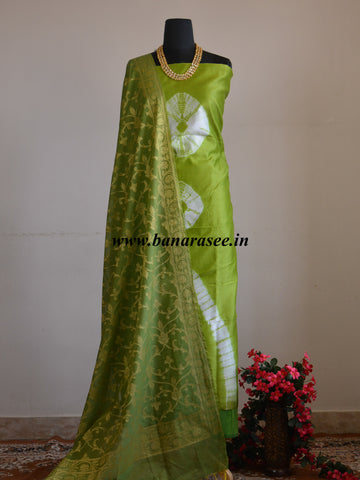 Banarasee Shibori Dyed Chanderi Salwar Kameez Fabric With Cotton Silk  Dupatta-Green