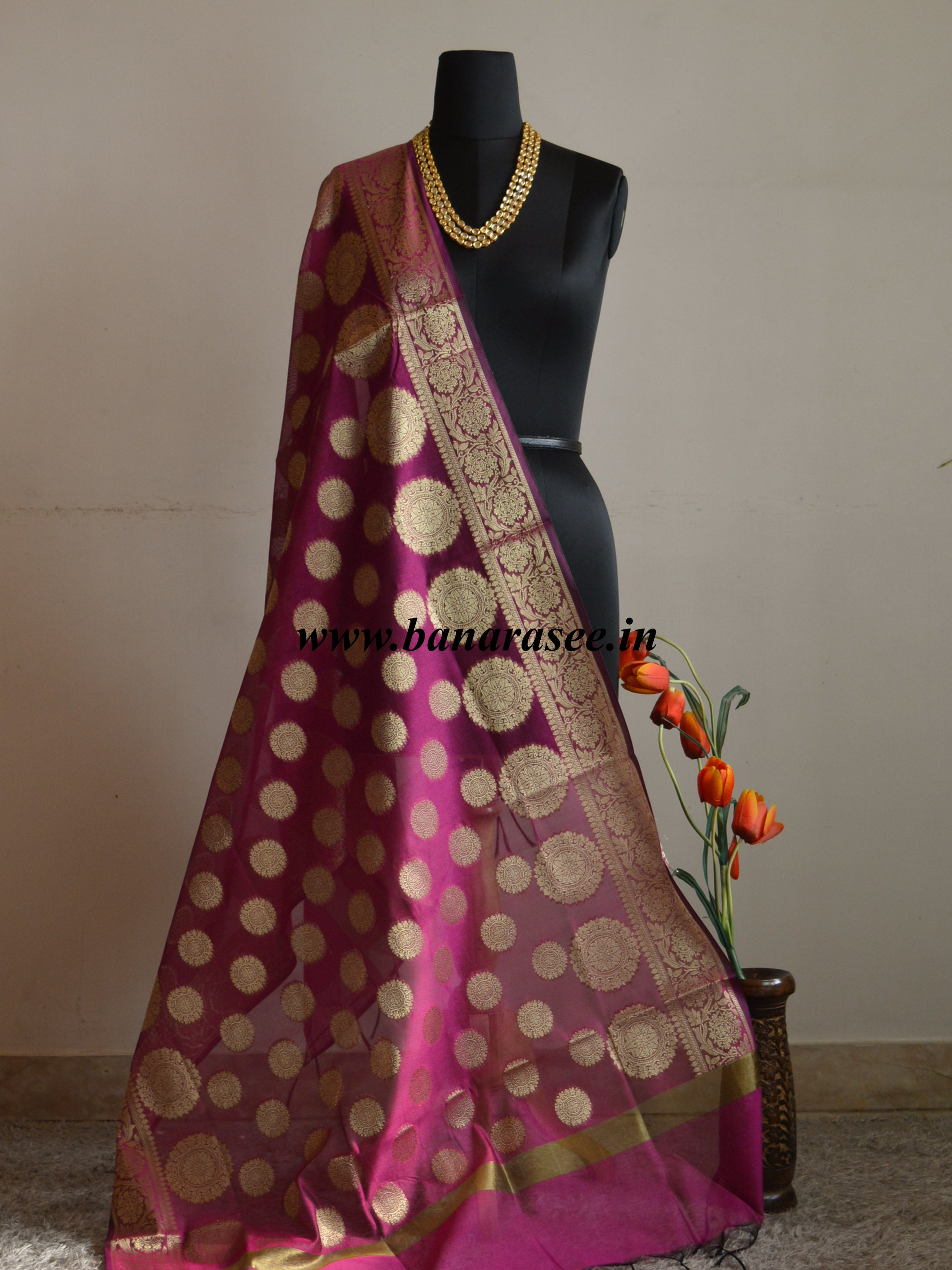Banarasee Cotton Silk Gold Zari Big Buta Dupatta-Magenta