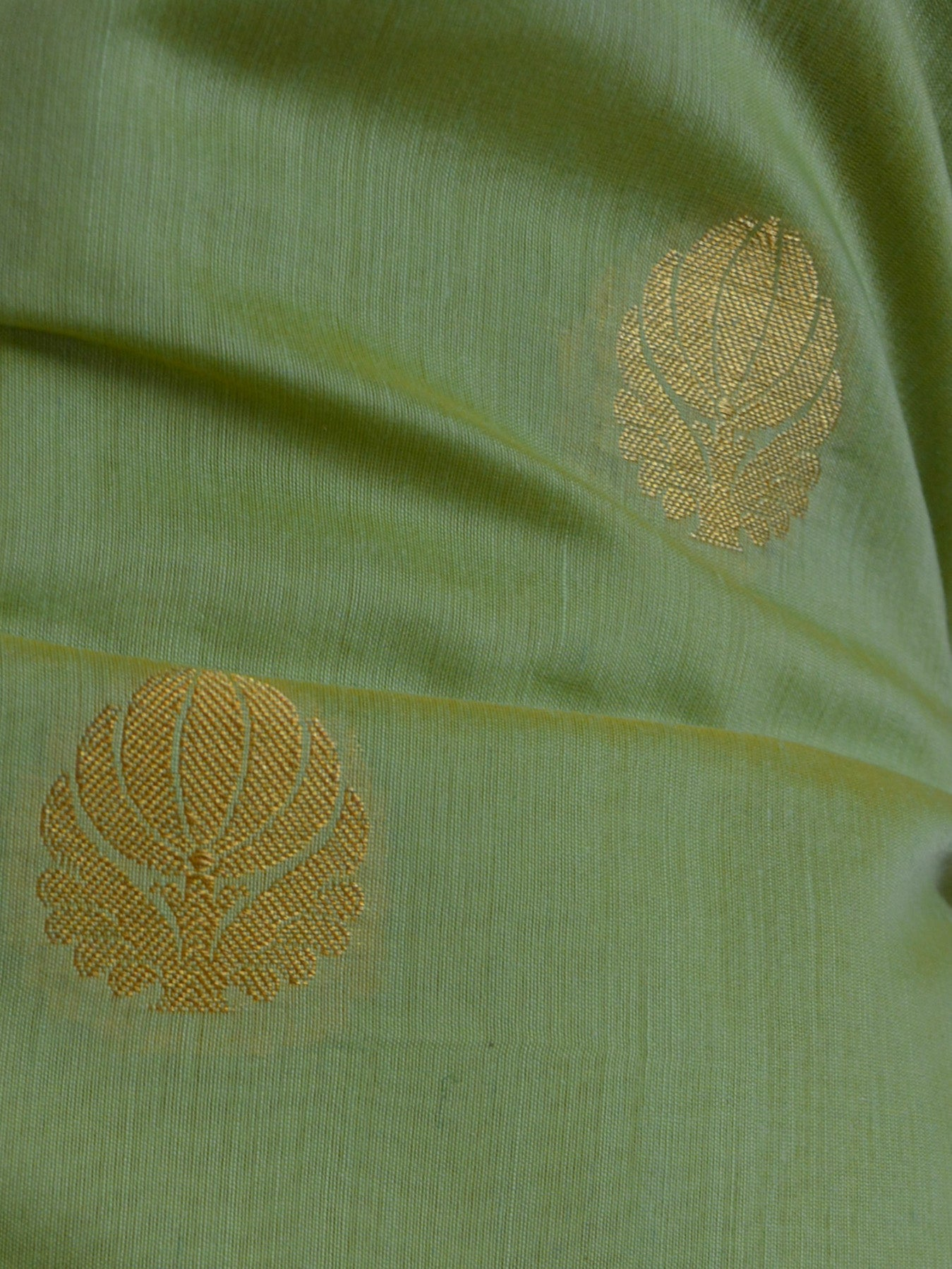 Banarasee Chanderi Cotton Salwar Kameez Fabric With Zari Dupatta-Pastel Green