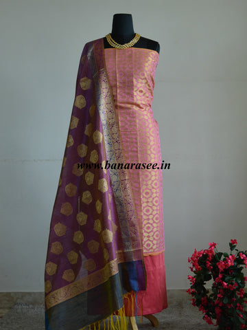 Banarasee Chanderi Cotton Salwar Kameez Jaal Design Fabric With Zari Buta Dupatta-Peach