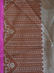 Banarasee Silk Cotton Saree Khichha Leaf Design-Beige