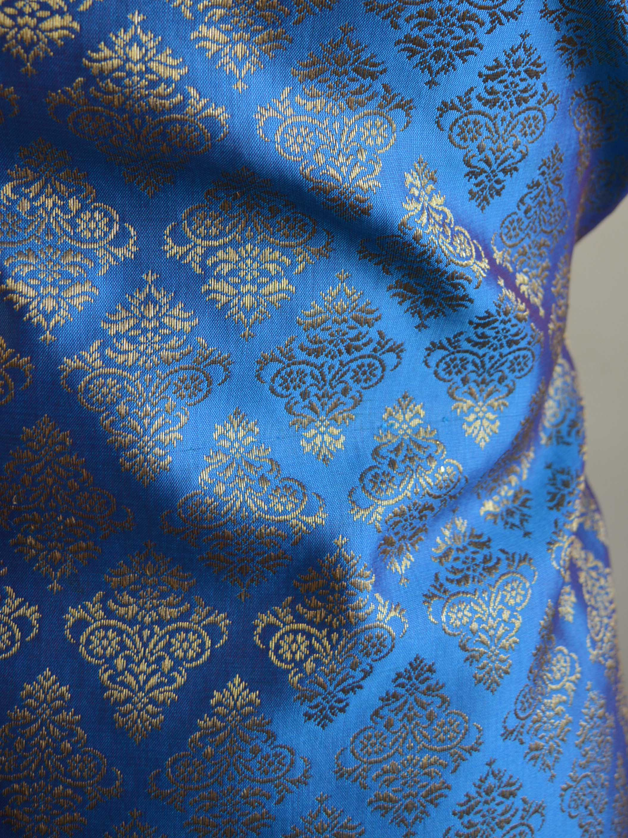 Banarasee Cotton Silk Floral Jaal Salwar Kameez Fabric With Contrast Art Silk Dupatta-Blue