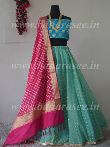 Banarasee Stitched Chanderi  Lehenga & Blouse Fabric With Pink Dupatta-Blue(Dual Tone)
