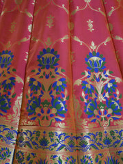 Banarasee Handwoven Art Silk Unstitched Lehenga & Blouse Fabric With Meena Work-Peach(Dual Tone)