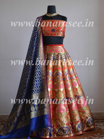 Handwoven Pure Banarasee Kimkhwab Unstitched Meena Woven Lehenga & Blouse With Art Silk Dupatta-Red