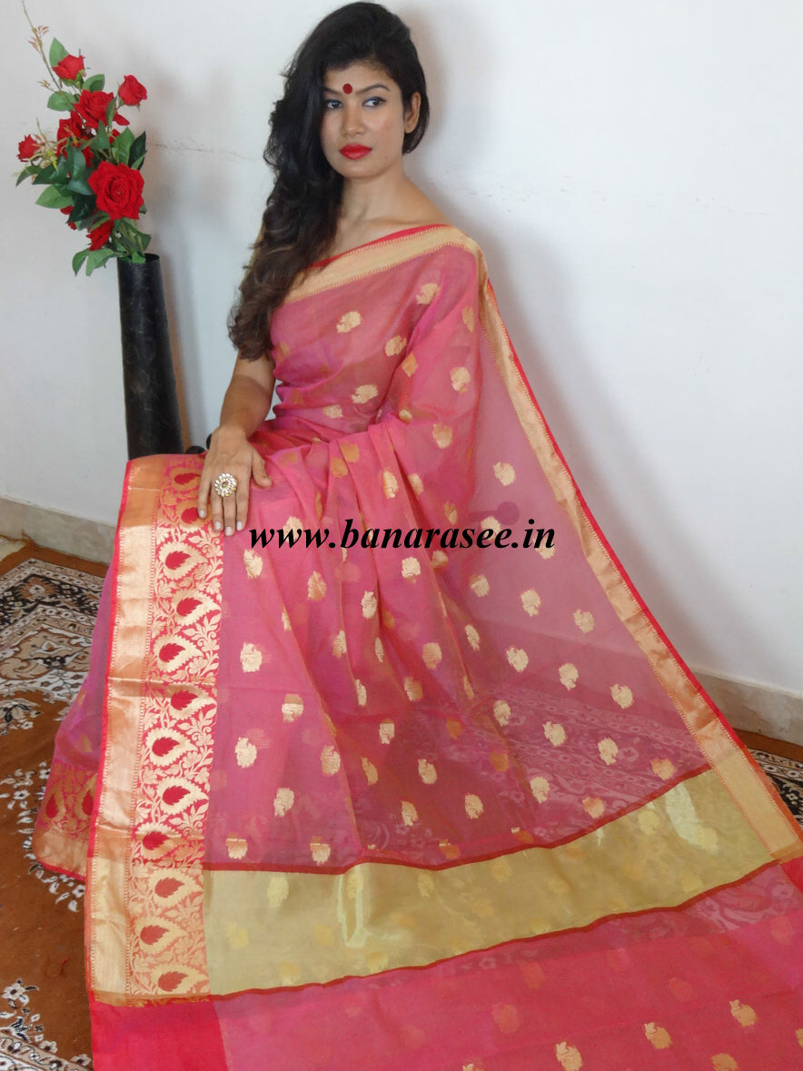 Banarasee Chanderi Cotton Zari Buti & Floral Meena Border Design Saree - Pink