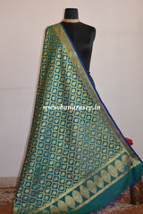 Banarasee Art Silk Dupatta With Jaal Design-Green