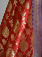 Banarasee Art Silk Dupatta Jaal Design With Contrast Border-Red