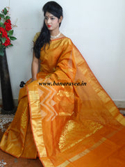 Banarasee Cotton Silk Mix Saree With Leaf Design-Gold