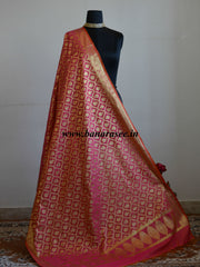 Banarasee Art Silk Dupatta With Jaal Design-Peach