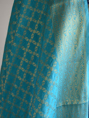 Banarasee Cotton Silk Floral Jaal Salwar Kameez Fabric With Contrast Art Silk Dupatta-Deep Blue