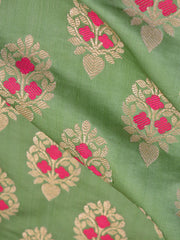 Banarasee Satin Brocade Zari Buta With Meena Design Fabric-Pastel Green