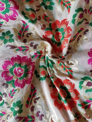 Banarasee Pure Kimkhwab Floral Jaal Semi Silk Fabric-Off White