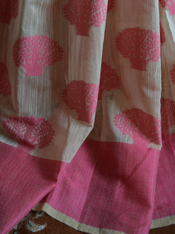 Banarasee Soft Cotton Saree With Pink Woven Tree Motifs Contrast Pink Blouse-Beige