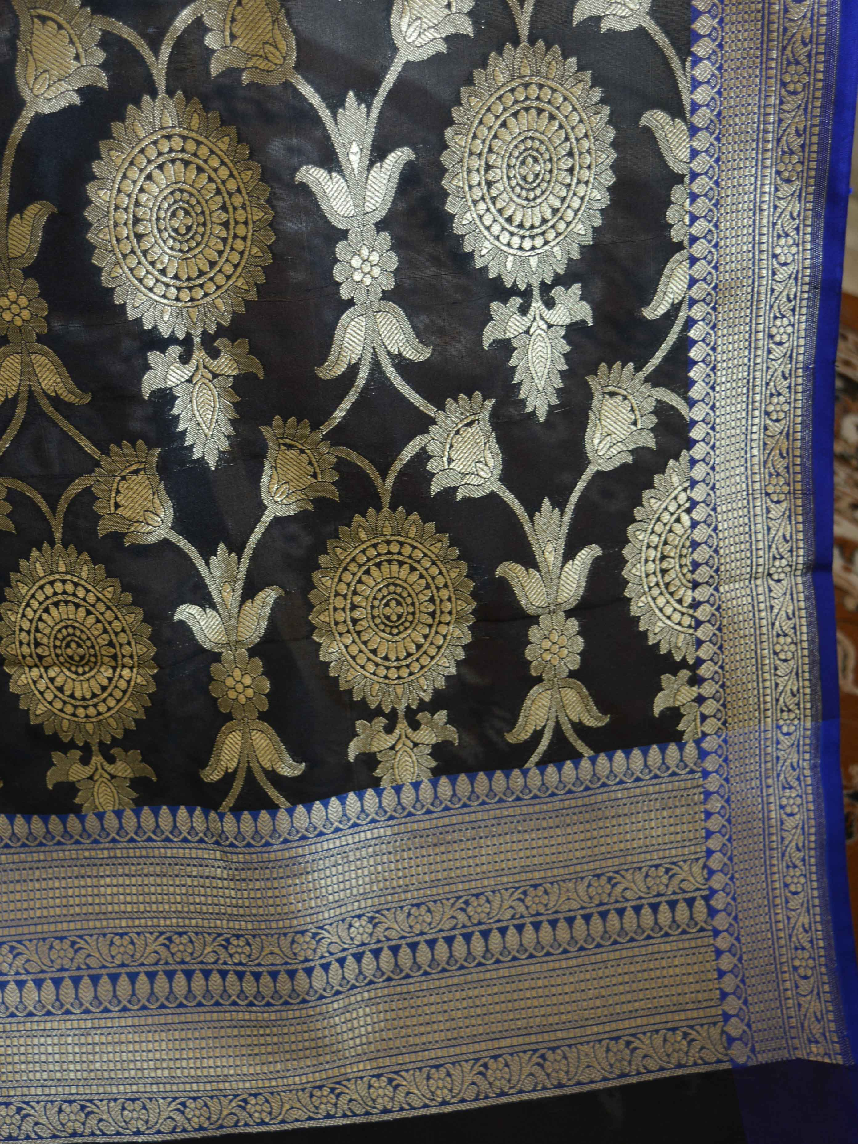Banarasee Art Silk Dupatta Jaal Design With Contrast Border-Black