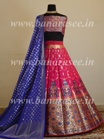 Banarasee Handwoven Art Silk Unstitched Lehenga & Blouse Fabric With Meena Work-Hot Pink