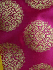 Banarasee Handwoven Satin Brocade Salwar Kameez Fabric & Yellow Art Silk Dupatta-Hot Pink