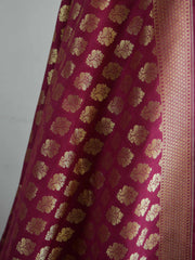 Banarasee Satin Brocade Salwar Kameez Fabric With Wine Art Silk Dupatta-Off-White