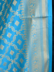 Banarasee Art Silk Dupatta Jaal Design-Sky Blue