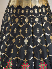 Banarasee Handwoven Art Silk Unstitched Lehenga & Blouse Fabric With Meena Work-Black