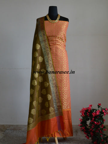 Banarasee Chanderi Cotton Salwar Kameez Jaal Design Fabric With Zari Buta Dupatta-Orange