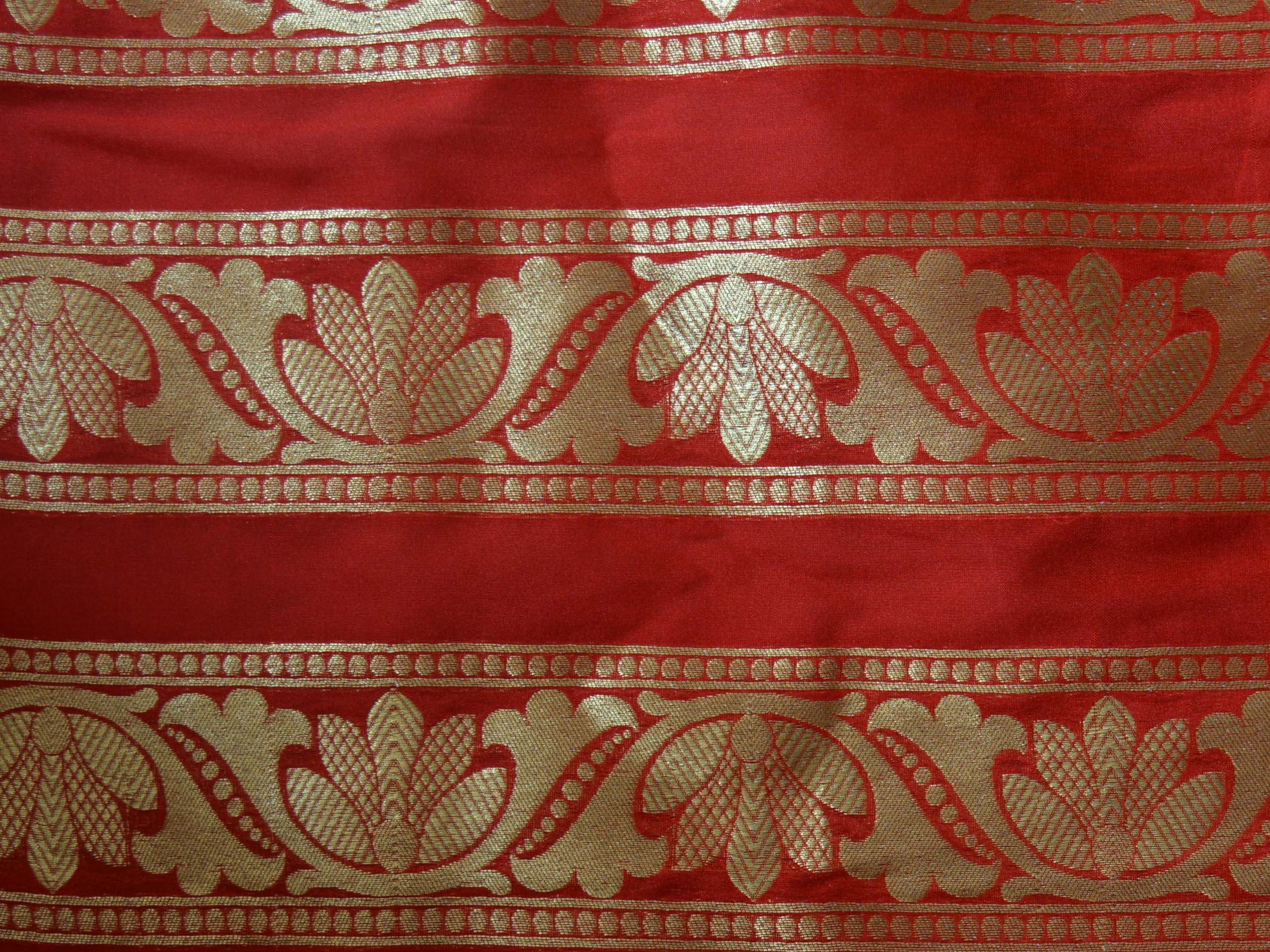 Banarasee Handwoven Art Silk Unstitched Lehenga & Blouse Fabric With Orange Dupatta-Red