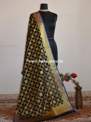 Banarasee Art Silk Dupatta With Jaal  & Contrast Border Design-Black