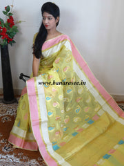 Banarasee Cotton Silk Mix Saree With Zari Border & Paisley Buta Design-Yellow