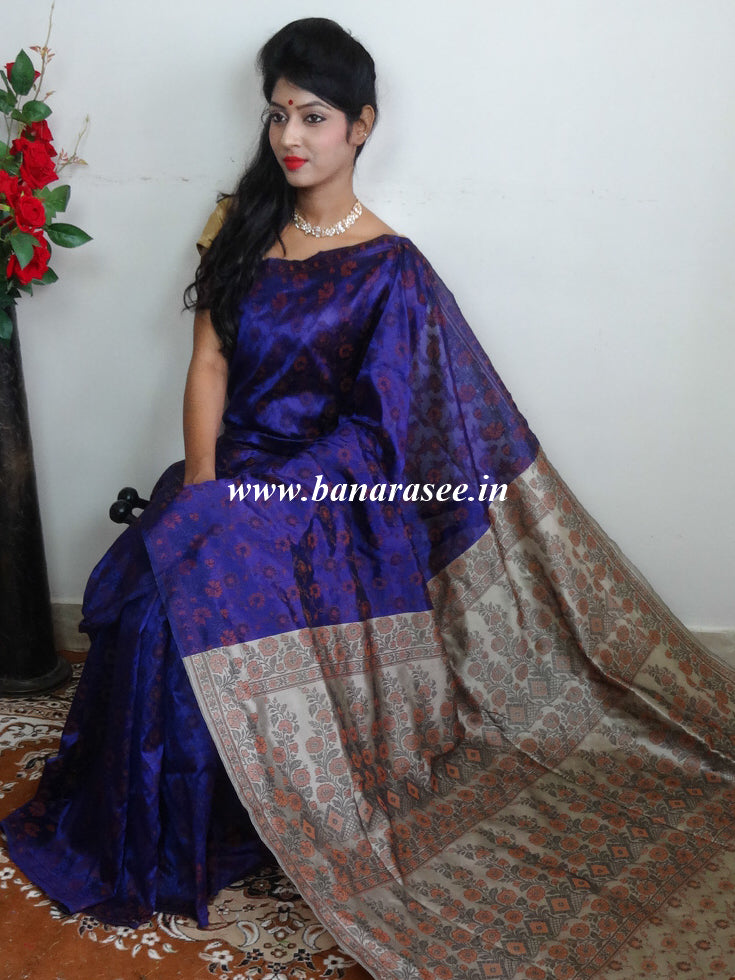 Banarasee Art Silk Saree With Floral Woven Design Contrast Pallu-Violet