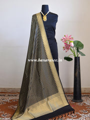 Banarasee Art Silk Dupatta With Polka Dot Design-Black