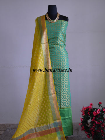 Banarasee Chanderi Cotton Salwar Kameez Jaal Design Fabric With Zari Buti Dupatta-Green