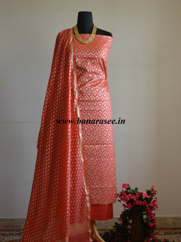 Banarasee Salwar Kameez Cotton Silk Gold Zari Jaal Woven Fabric-Peach