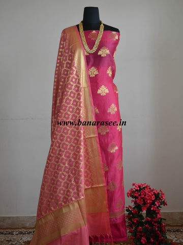 Banarasee Salwar Kameez Chanderi Zari Buta Woven Fabric With Art Silk Dupatta-Pink