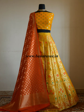 Banarasee Handwoven Art Silk Unstitched Lehenga & Blouse Fabric With Meena Design-Yellow