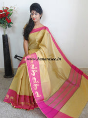 Banarasee Soft Cotton Saree With Zari Deer Motifs On Contrast Pink Border-Beige