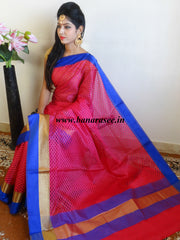 Banarasee Cotton Silk Mix Saree  With Checks Design & Contrast Border-Hot Pink