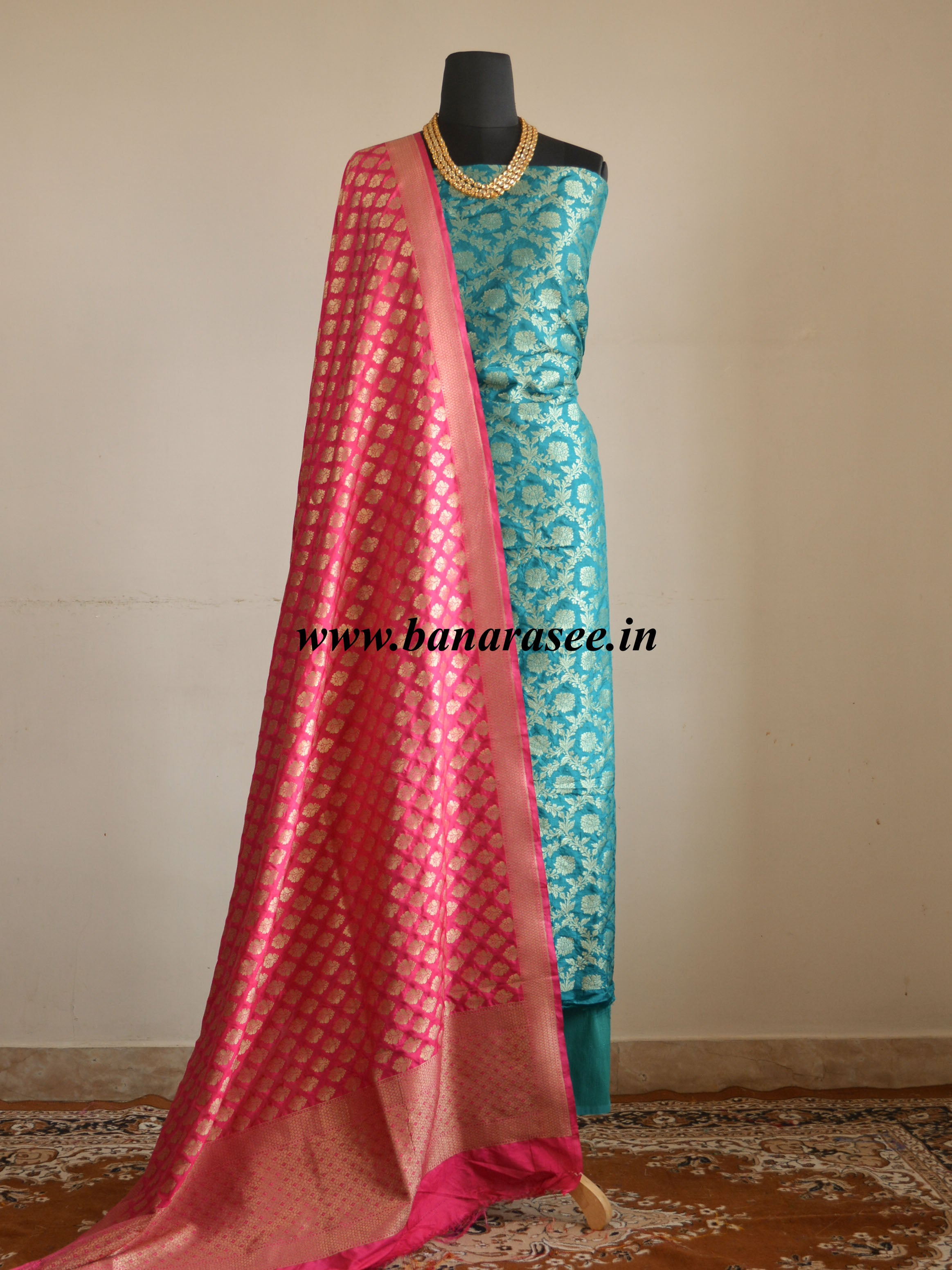 Banarasee Salwar Kameez Semi Silk Zari Jaal Work Fabric & Hot Pink Dupatta-Teal Green