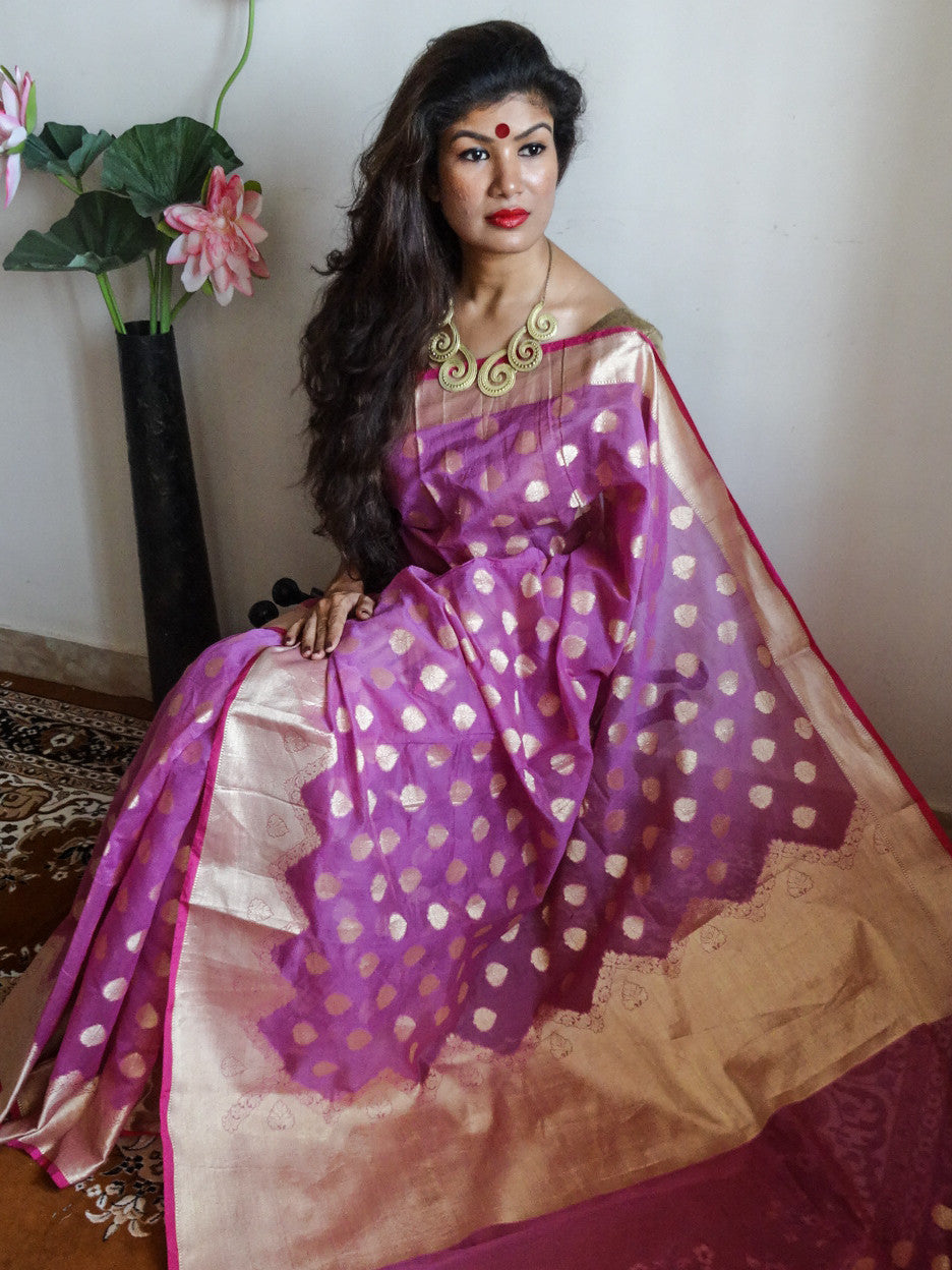 Banarasee Chanderi Cotton Buti All Over-Mauve